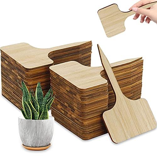 Etichette Piante Bambù tipo T, 50 pcs Etichetta Pianta, Etichette Vivaio, Etichette Piante Bambù, T-Tipo Pianta Etichette, Etichette Legno, Impermeabile, Resistente, Piante e Fiori