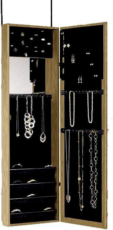 Armoire Jewerly Full Mirrored Cabinet Bijou Storage Over Door Wall Mount Oak Wood Unit Liner Insert Bedroom Dressing Room Space Saver EBook By JEFSHOP