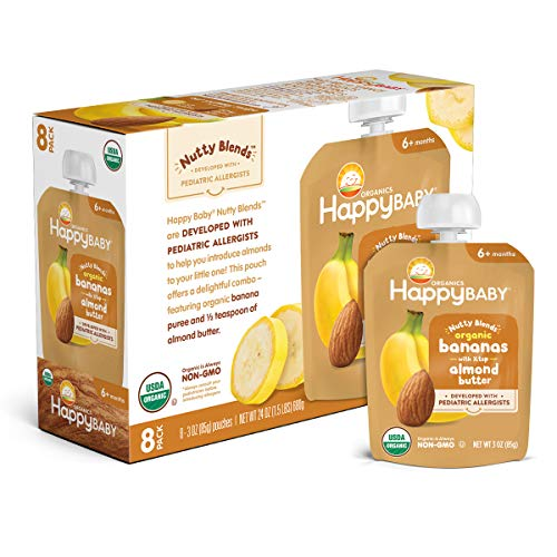 Happy Baby Organics Nutty Blends Organic Bananas with 1/2 tsp Almond Butter 3 oz Pouch (Pack of 8)