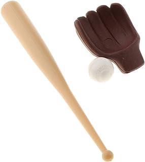 3X 1:12 Dollhouse Baseball Bat Glove & Ball Baby Doll Game Scenery Ornaments