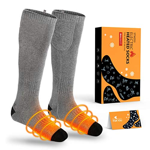 Balhvit Upgraded Two Sides Heated Socks for Men Women, Up to 10 Hours Heating Socks-Rechargeable Electric Socks with 3 Heat Settings, Washable Warm Winter Cotton Thermal Socks for Hunting Camping