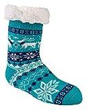 socksPur Hütten-Socken, ABS extra-fl auschig-gefüttert für Kleinkinder & Kinder mit dickem weichem Teddyfutter & rutschfestem ABS-Druck 1 Paar (TÜRKIS - Jungen, 27/32)