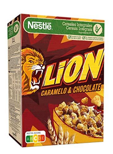 Lion Cereales de Trigo y Arroz Tostados con Crema de Caramelo y Chocolate, 400g