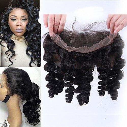 Friya Hair Top - qualität Freie Mitte 3 Part Loose Wave Pre Plucked Loose Wave 360 Lace Frontal Closure Brasilianische Virgin Human Hair Natural Hairline Lace Band Frontal Closure mit baby haare (18