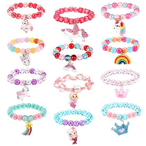 Gaosaili 12 pulseras de unicornio para niñas, arco iris, pulseras de sirena, coloridas pulseras de unicornio, pulseras de unicornio para niñas y fiestas de cumpleaños