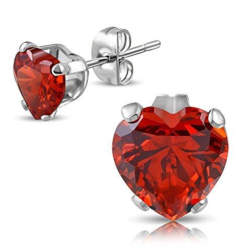 Bungsa® Rotes Kristall Herz Zirkonia Ohrstecker silber 3mm - 1 Paar Edelstahl (Ohrringe Ohrschmuck Ohrklemmen Damen Frauen Herren Liebe Heart Love Mode Studs Earrings)