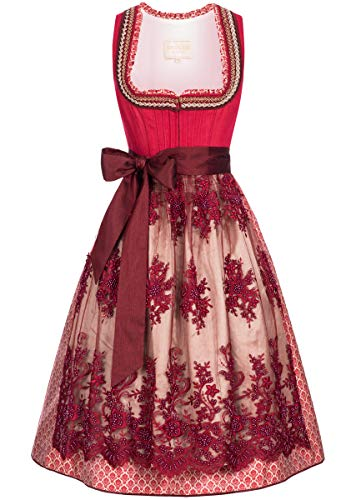 Krger-Collection Damen Trachten-Mode Midi Dirndl Kathl in Rot traditionell