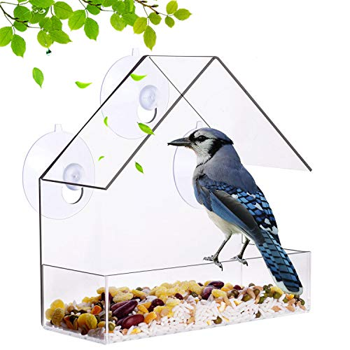 Window Bird Feeder Outside Clear Acrylic Hanging Bird Feeders with Suction Cup Includes 21 Drain Holes