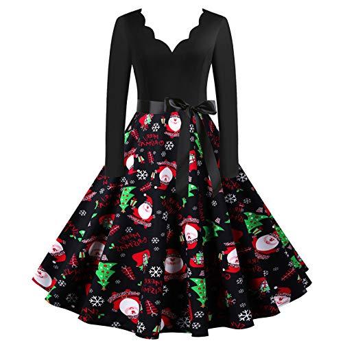 Dicomi Party Kleid Damen 2020 Weihnachtskleid V-Ausschnitt Weihnachten Musical Notes Print Vintage Flare Kleid Party Kleid