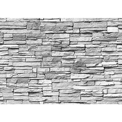 Vlies Fototapete PREMIUM PLUS Wand Foto Tapete Wand Bild Vliestapete - ASIAN STONE WALL - GREY - Asian Stone Wall Steinwand Steintapete Asia Stone Asien - no. 127, Größe:400x280cm Vlies