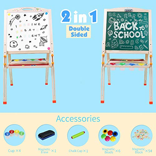 Pizarra Infantil Caballete Pintura Magnética Doble Cara Ajustable Caballete Madera Juego de Imaginación Educativo Juguete para 3 4 5 6 Niños Niñas