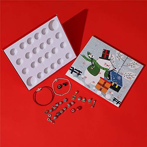 Calendario de Adviento de Navidad, calendario de cuentas, calendario de Navidad, muñeco de nieve, caja de regalo con calendario de 24 días, pulsera de abalorios, juego de joyería único, gran caja de regalo de Navidad para mujeres y niñas