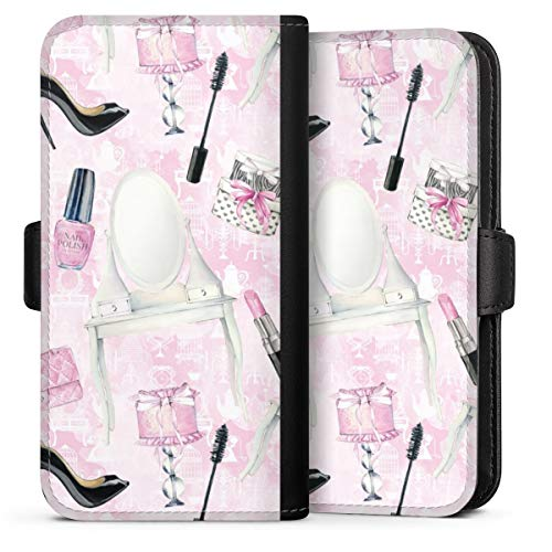 Flip Case compatibel met Apple iPhone 12 mini telefoonhoesje van leder zwart klaphoesje Mode Schmink Spiegel