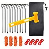 BaiYouDa Backpacking Tent Nail Tent Canopy Accessories Windproof Rope Hammer and Nail Set for Camping