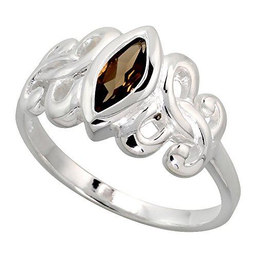Sterling Silver Celtic Motherhood Symbol Knot Ring with Natural Smoky Topaz 3/8 inch Wide, Size 8