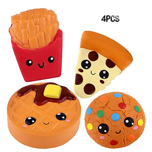 Anboor Squishies Emoji PizzaCookiesChocolate Cake and French Fries Kawaii Scented Soft Slow Rising Simulation Simulation Food Squishies Stress Relief Kids Toy Gift Collection Decorative Props4 Pcs
