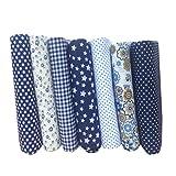 Amosfun Baumwollstoff Blumen Gedruckt Stoff Bundle Quadrate Patchwork DIY Materialien zum Nähen Scrapbooking Verpackung 25x25cm 7 Stück (Blau)