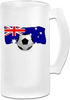 Soccer Ball With Australia Flag Frosted Glass Stein Beer Mug - Personalized Custom Pub Mug - 16 Oz Beverage Mug - Gift For Your Favorite Beer Drinker