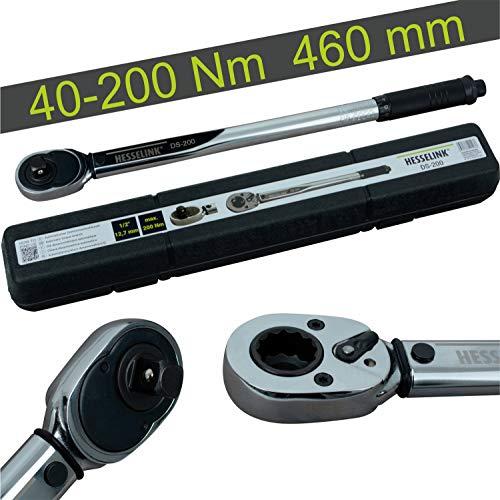 """Hesselink DS-200 - Llave dinamométrica (40-200 Nm, ideal para el cambio de neumáticos/cambio de ruedas en el coche, con trinquete de 1/2"""")"""