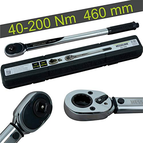 Hesselink DS-200 Drehmomentschlüssel 40-200 Nm I ideal für den Reifenwechsel/Räderwechsel am Auto I mit 1/2