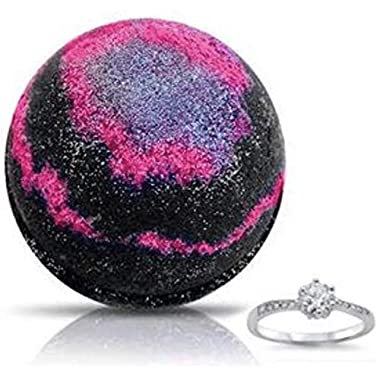Galaxy Ring X-Large Bath Bomb by Soapie Shoppe, Ring Included, Size 5-9, Wild Blackberry Scent, Made in USA