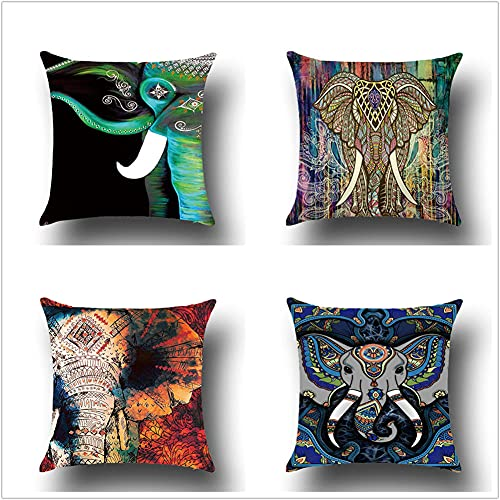 Pillow Case Cushion Cover, Elefante Nero 4 Pieces Pillow Case, Throw Pillow Covers, Home Decoration Pillow Case, Super Soft Sofa Cushion, for Living Room Sofa Bed Auto 60x60cm(24x24in)