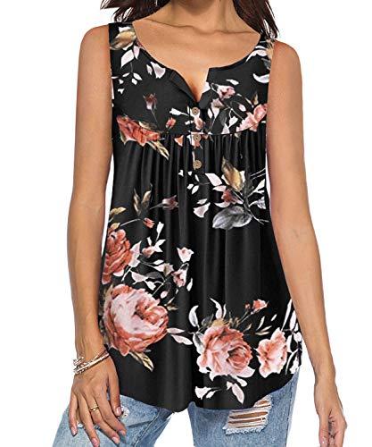 DEMO SHOW Damen Tunika Top Locker Langarm V Ausschnitt Knopfleiste Plissiert Floral Henley Shirt Bluse T Shirt (A-Schwarz, L)