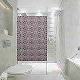 Película de cristal para puerta de ducha de baño, cuadrículas geométricas con líneas diagonales y Ci, decoración de inodoro para el hogar, baño de 23.6 x 47.2 pulgadas