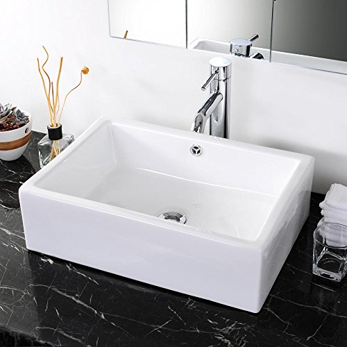 Aquaterior Rectangle White Porcelain Ceramic Bathroom Vessel Sink Bowl Basin with Chrome Drain and Overflow