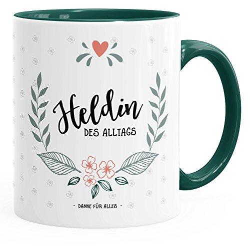 MoonWorks Kaffee-Tasse Geschenk-Tasse Heldin des Alltags grün Unisize