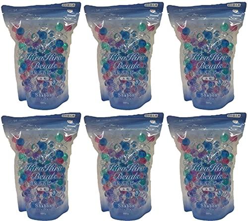 モリトク 室内・トイレの消臭芳香剤 キラキラビーズ 大粒 シャボンの香り 詰替用500g入x6個セット(計3kg) 5色混合マルチカラー(透明含む)