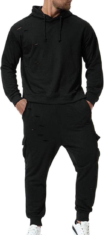 TymhgtCA Mens Active 2PCSSets Hoodies Sweatpants Broken Holes Outfits Tracksuit
