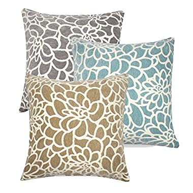 3PCS Throw Pillow Covers Coastal Cushions 100% Cotton Home Decorative 18 x 18 inch Soft Pillow Case Covers Invisible Zipper Pillow Case No Pillow Insert Furniture Cushions 02 (02-Blue-Brown-Grey)