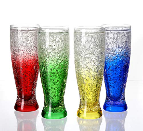 JF Mall Pilsner Shape Double Wall Acrylic Freezer Beer Mug Crystal Clear Ice Cup Frosty Glasses Set of 4 with Assorted Color (16 oz Each)