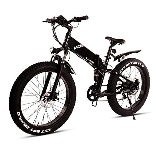 KAISDA Bicicletta elettrica/elettrica pieghevole, 26', velocità massima 31 km/h, 10 Ah, 48 V, 500 W, Shimano a 7 marce, adatta per montagne, strade piane e neve