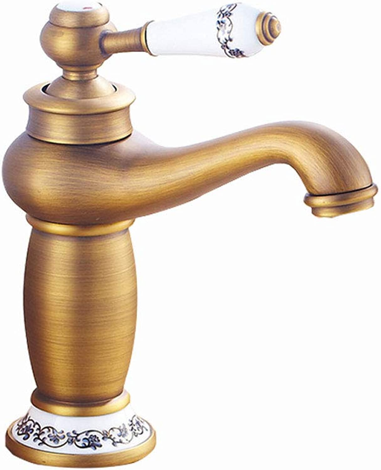LYCY Faucet European Full Copper Antique Hot And Cold Double Open Basin Mixed bluee And White Porcelain (color   A)