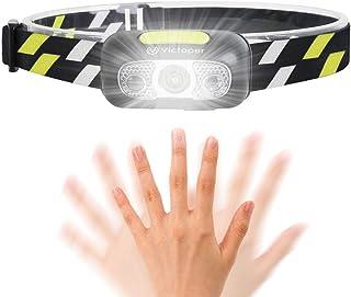 Linterna Frontal LED USB Recargable,Victoper Linterna Cabeza 5 Modos Sensor de Movimiento, Linternas LED Alta Potencia IPX...