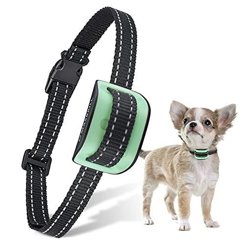 MASBRILL Collar Antiladridos para Perros Pequeños y Medianos y Grande con Sonido y Vibración, Collares Anti ladridos Dispositivo 7 Niveles de Sensibilidad Ajustables - Verde