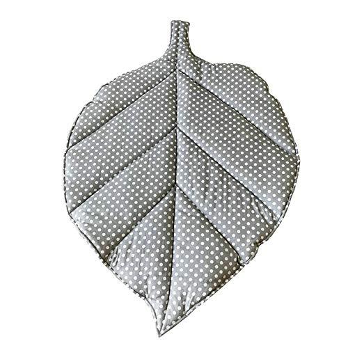 VIGAN Alfombra de algodón para bebé recién nacido con forma de hoja de gatear para jugar alfombra infantil niños (A: puntos grises)
