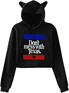 Don't Mess with Texas - State of Texas Women's Cute Cat Ear Crop Tops Hoodies Jacket Pullover