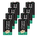 10. Enegitech 9V Lithium Battery, 600mAh Lithium Battery for Smoke Detector Guitar Pickups Wire Tracker Microphone Multimeter Infrared Thermometer Non-Rechargeable - 8 Pack
