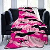 Pink Camo Fleece Blankets and Throws,Soft Warm Fleece Throw Blanket for Adults & Kids,Queen Size Blanket for Bedroom Office Travel Couch Sofa 60'X50'