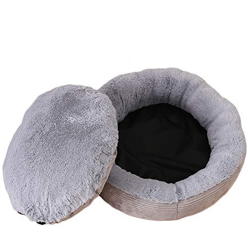 Keneke Cojín de sofá para mascotas, perrera de perro, perrera de gato, casa de mascotas, cama de dormir de felpa con cojín extraíble lavable nido de mascotas para compañeros perros gatos (gris/L)