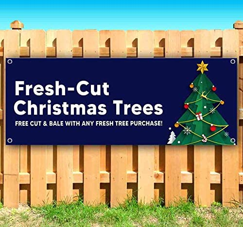 Fresh Cut Christmas Trees 2 13 oz Banner Heavy-Duty Vinyl Single-Sided with Metal Grommets Non-Fabric