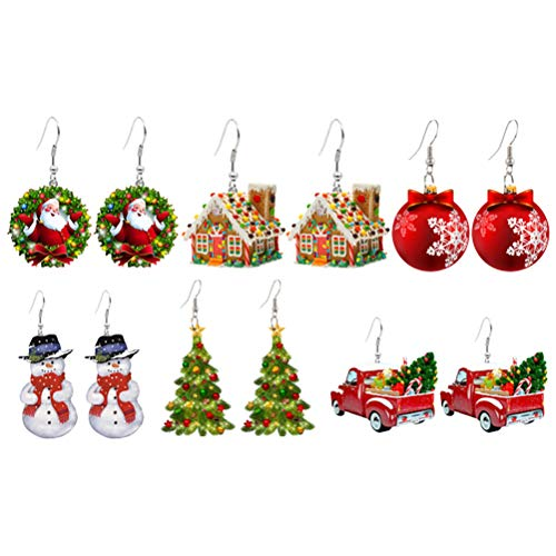 Jackallo Christmas Earrings,6Pcs Christmas Earrings for Women Xmas Style Dangle Earrings Gift for Women Girls