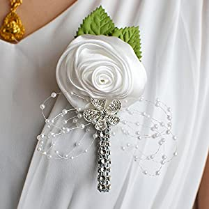FYSTORE Graduation Boutonniere,Royal Blue, White, and Silver Grey Artificial Boutonniere Corsage for Prom, Party, Wedding (White)