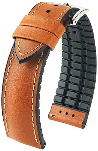 HIRSCH Uhren-Armband James M - italienisches Kalbs-Leder - sportlich/atmungsaktiv - Damen/Herren - Goldbraun - 20 mm
