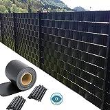 GDMING Pantalla De Valla De Privacidad para Terraza Balcón Vista 100% Bloqueada Protector Solar Impermeable PVC Cubre Vallas Jardín para Metálicas 20cm Incluye 40 Clips 450GSM