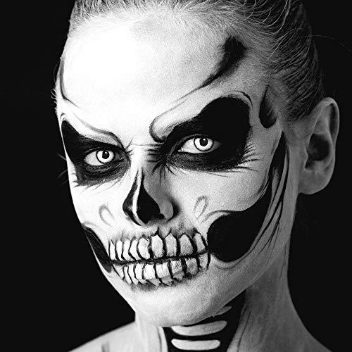 Farbige Kontaktlinsen 1 Paar weisse schwarze Lunatic Vampir mit schwarzem Rand 1 Paar. Topqualität zu Halloween, Fasching, Fastnacht, Karneval Halloween gratis Kontaktlinsenbehälter ohne Stärke - 6
