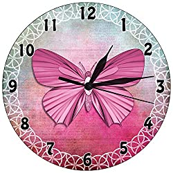 GeTJonesRiGhT Wall Clock Pink Butterfly Decoration Wall Clock Mute -10 inch Round Easy to Read Decoration, Suitable for Home/Office/School Clock